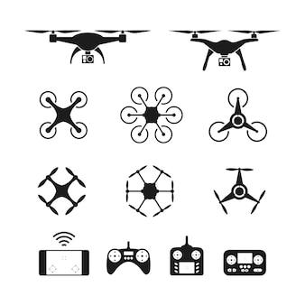 空中無人機またはクワドコプターとリモートコントロールアイコンのセット