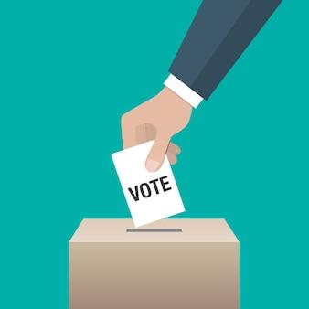 選挙日の概念アイコン。投票用紙を投票箱に入れる手。