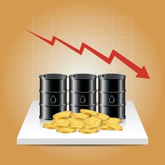 石油業界のコンセプト。石油価格は、石油タンクとドル硬貨で下落しています。