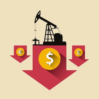 石油業界のコンセプト。石油ポンプとドル、ポンド、ユーロコインで下落している石油価格。