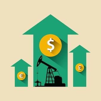 石油業界のコンセプト。石油ポンプとドル、ポンド、ユーロコインと矢印を成長している石油価格。