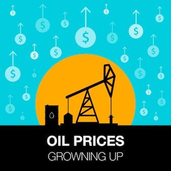 石油業界のコンセプト。ドルのコインと石油ポンプで育った石油価格。