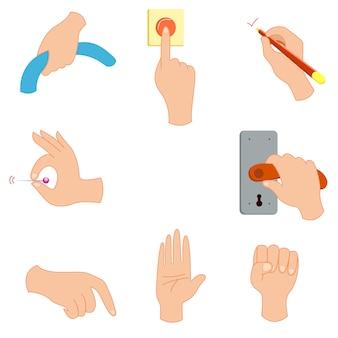 Жест рукой держать кнопку кнопки векторной иллюстрации