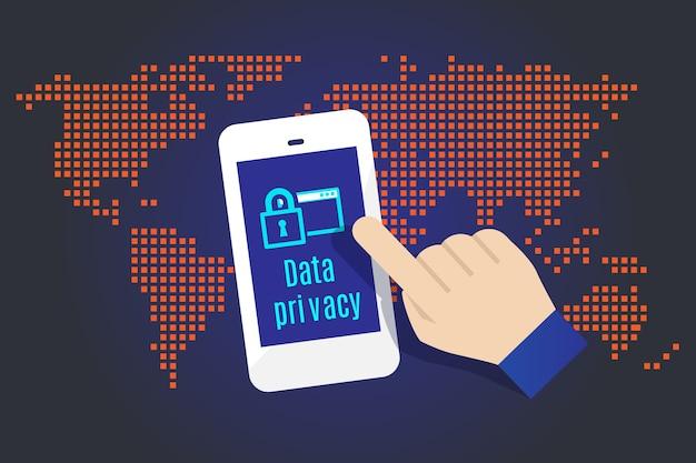 Прикосновение руки к мобильному телефону с символом конфиденциальности данных с картой в фоновом режиме, концепция безопасности данных