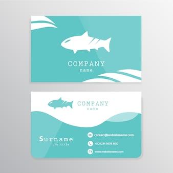 Синяя и белая визитная карточка