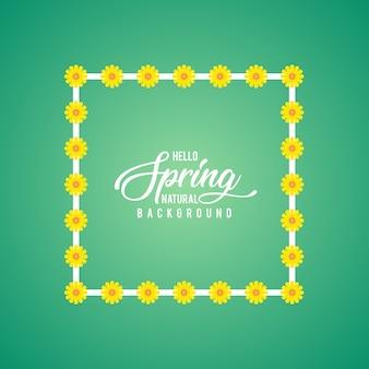 春の翡翠の背景に白いフレームを覆うひまわり