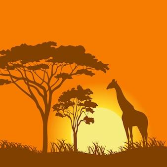 夕日の風景ベクトル