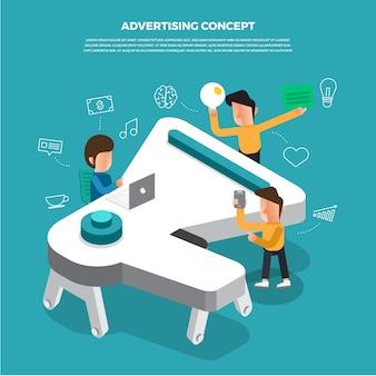 Плоский дизайн концепции мозгового штурма, работающих на значок на рабочем столе реклама. иллюстрировать.
