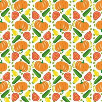 野菜のシームレスなパターンベクトル
