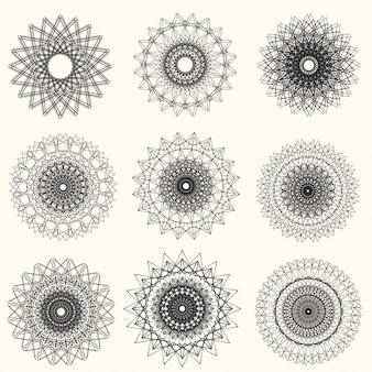 白い背景の上のベクトル抽象的なギョーシェ要素