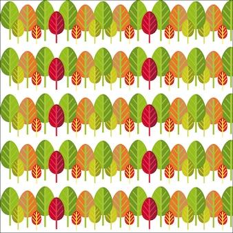 緑、オレンジ、赤、紫の葉の単純な行のシームレスパターン