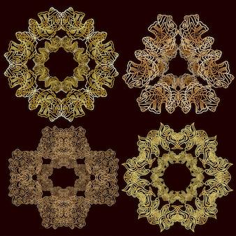 金色の飾り曼荼羅のセットです。ヴィンテージの装飾的な要素