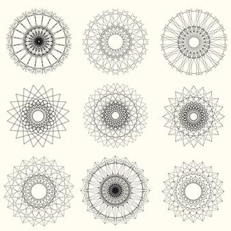 抽象的なギョーシェ要素セット