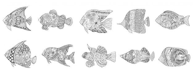 手描きの様式化された魚の落書き、波状のパターンを持つヴィンテージの要素のセット