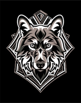 幾何学的なバッジを持つオオカミの頭