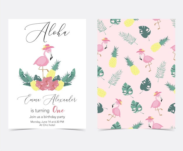 ヤシ、パイナップル、ハイビスカス、フラミンゴ、バナナの葉と花と緑のピンクの招待状
