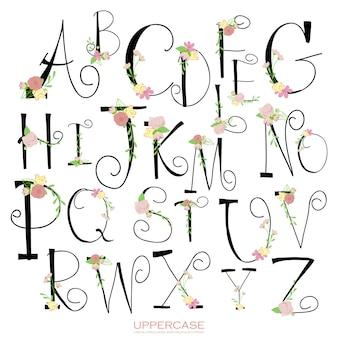 ブラックピンクグリーンのカラフルなチョークペンシルアルファベット