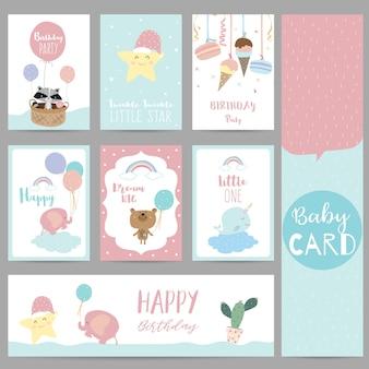 ピンクブルーパステルグリーティングカード