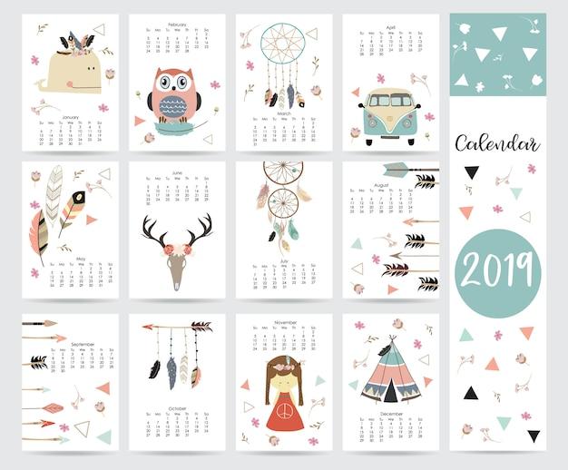 シックな月間カレンダー