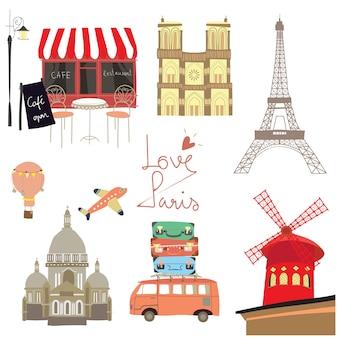 旅行スタンプとフランスのアイコン