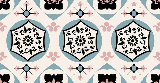 ブラックグリーンピンククリームの幾何学的なシームレスパターン
