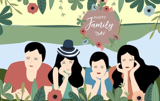 女性とオレンジ色の青い家族のポストカード