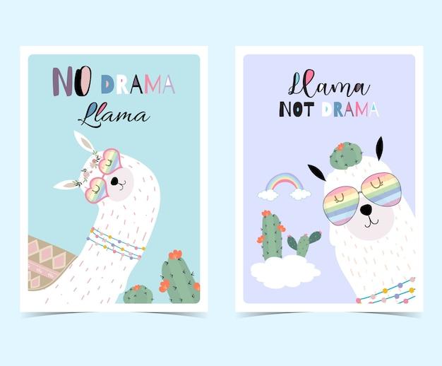 ラマと青いバイオレット手描きかわいいカード、