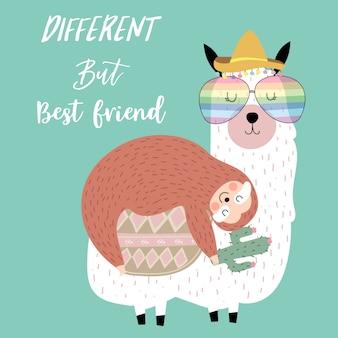 ナマケモノと手描きのかわいいカード