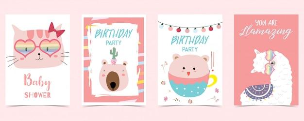 ラマ、猫、クマとパステルカラーのカード