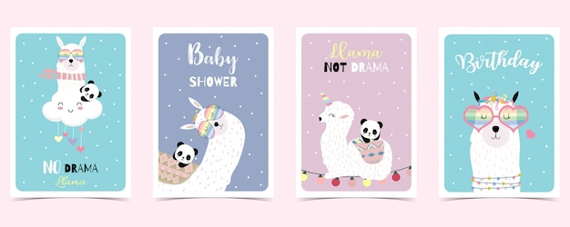 ラマ、パンダとパステルカラーのカード
