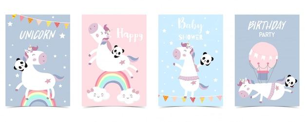 ユニコーン、虹とパステルカラーのカード