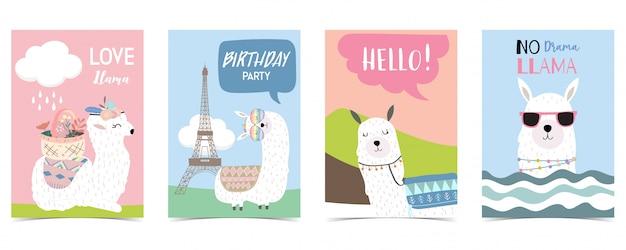 Пастельная открытка с ламой