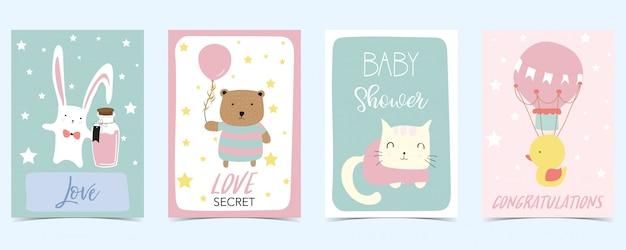クマとパステルカラーのカード