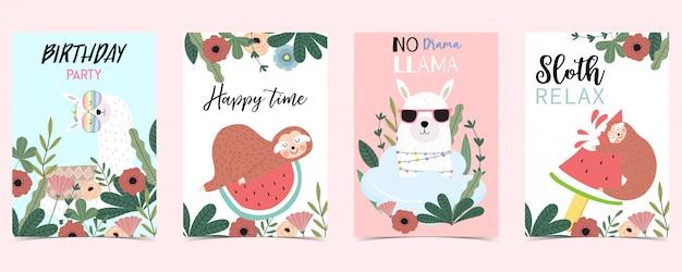 ナマケモノとパステルカラーのカード