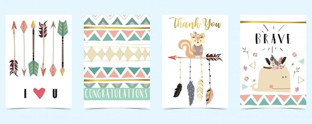 羽、矢印、クジラとパステルカラーのカード