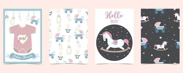 馬、シャツ、ボトル付きの赤ちゃんカード。こんにちは男の子、ベビーシャワー