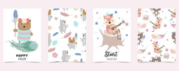 キツネ、クマとパステルカラーのカード