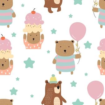 クマとパステルのシームレスパターン