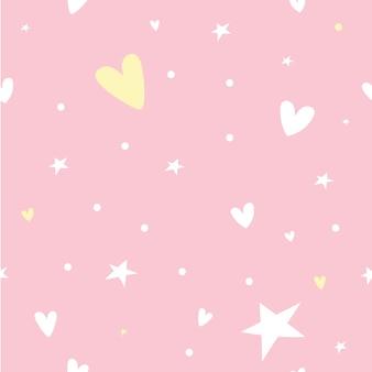 Пастельный бесшовный узор со звездой, сердцем