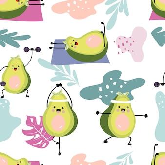 Узор авокадо с гантелями