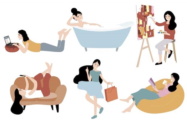 リビングルームでの女性キャラクターデザイン
