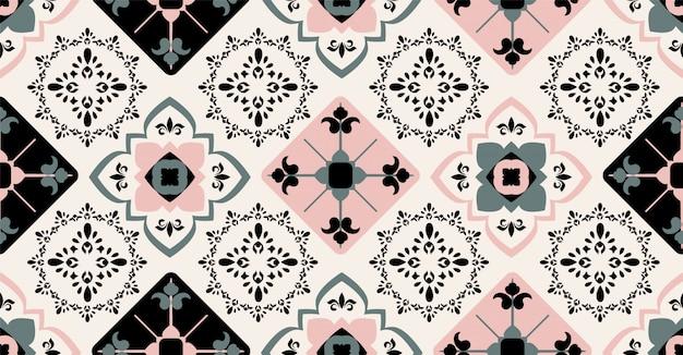 正方形、部族、円形のアフリカスタイルのピンクグリーンブラック幾何学的シームレスパターン
