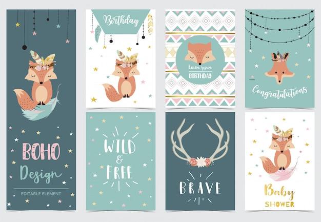 ドリームキャッチャー、羽、キツネ、星の誕生日の招待状のかわいい子供