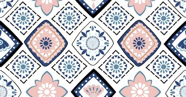 青とピンクの幾何学的なシームレスパターン