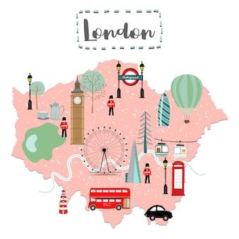 イギリスのロンドンのかわいい地図