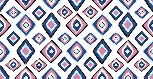 アフリカ風のブルーピンクブラック幾何学的シームレスパターン