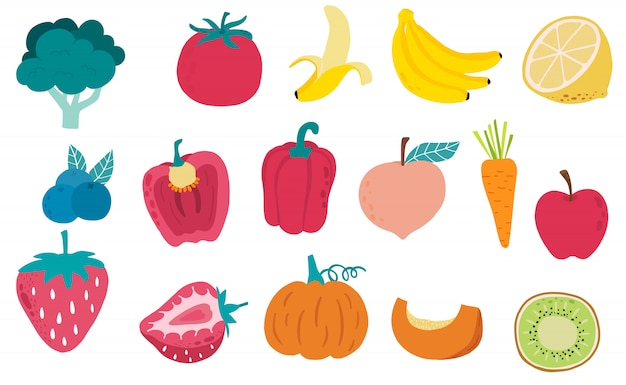 Симпатичная коллекция свежих фруктов с красным перцем, морковью, бананом, яблоком, ягодой, киви