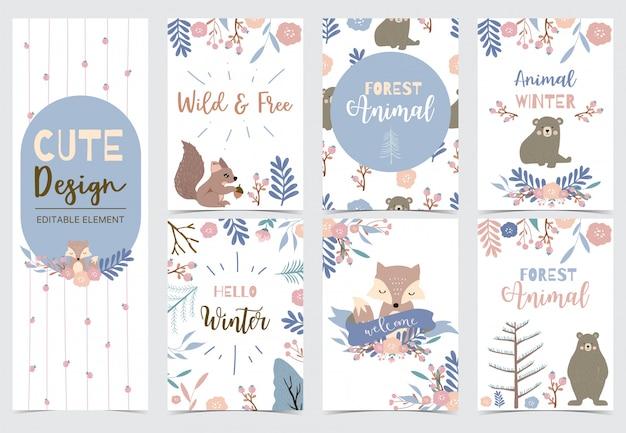キツネ、クマ、花、花輪、リス入りウッドランドカードのコレクション