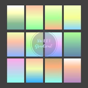 ライトブルー、グリーン、ピンク、イエロー、オレンジのグラデーションの背景