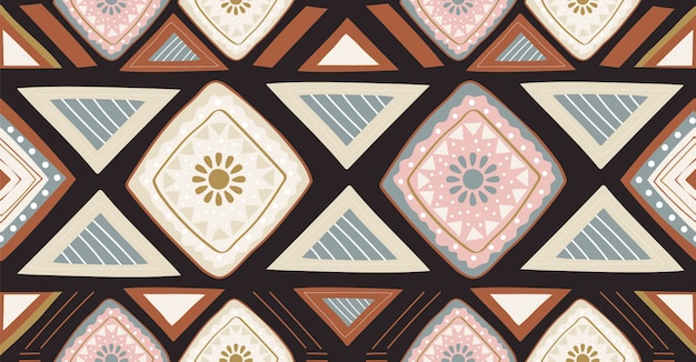 正方形、部族、円形のアフリカスタイルの緑ピンク黒幾何学的シームレスパターン